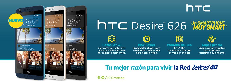 Banner HTC Desire 626 Adquiérelo en Planes Telcel